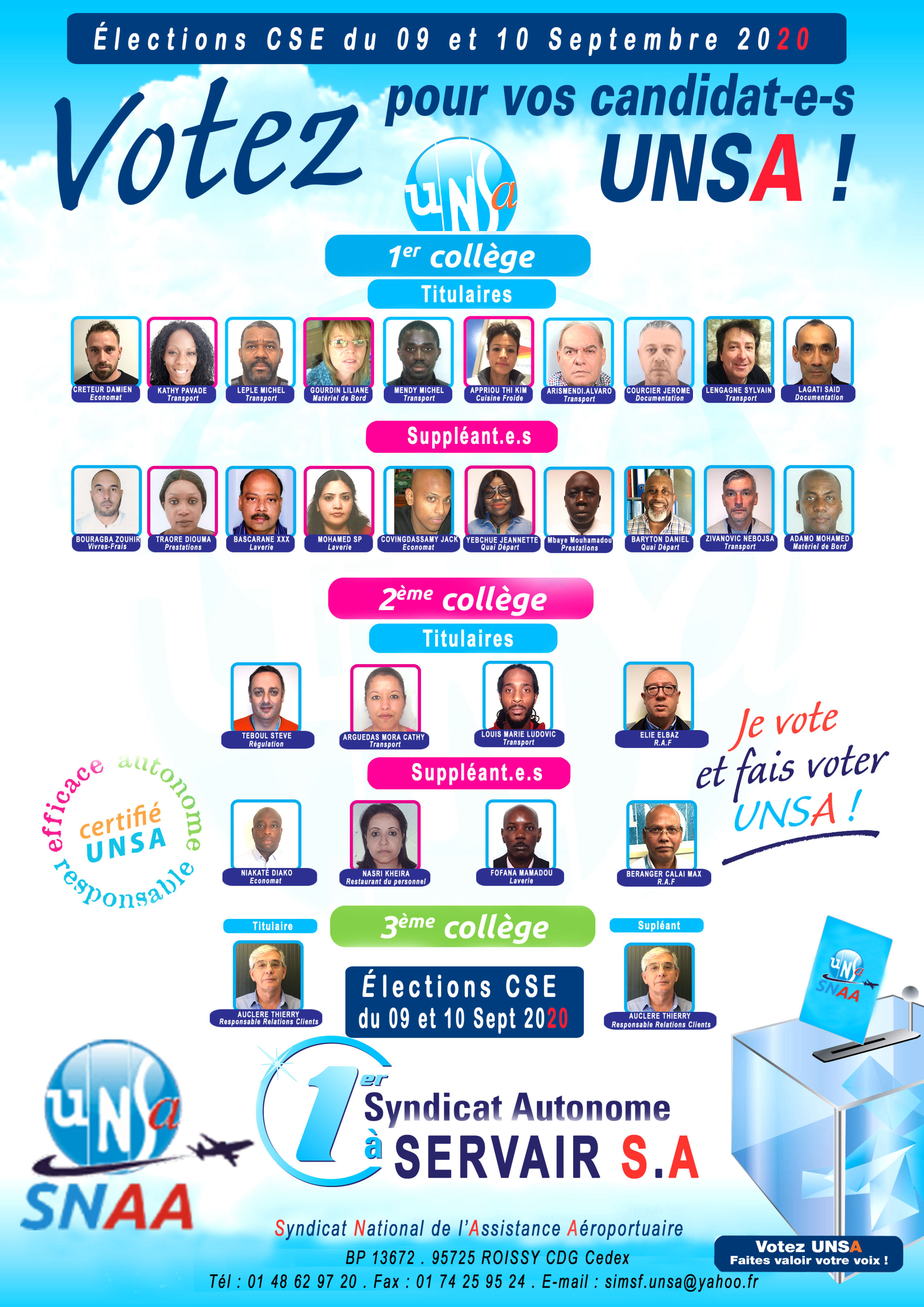liste candidats elections cse 2020 servair 2